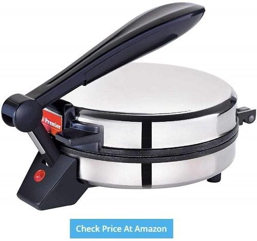 Best Roti Maker in India - Premier Instant Roti Maker Prm 01 900W- (L X B X H) 25 X 20 X 15, Silver)